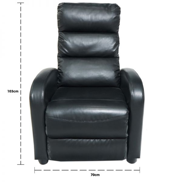 Sillón reclinable negro vinyl Jennifer Home