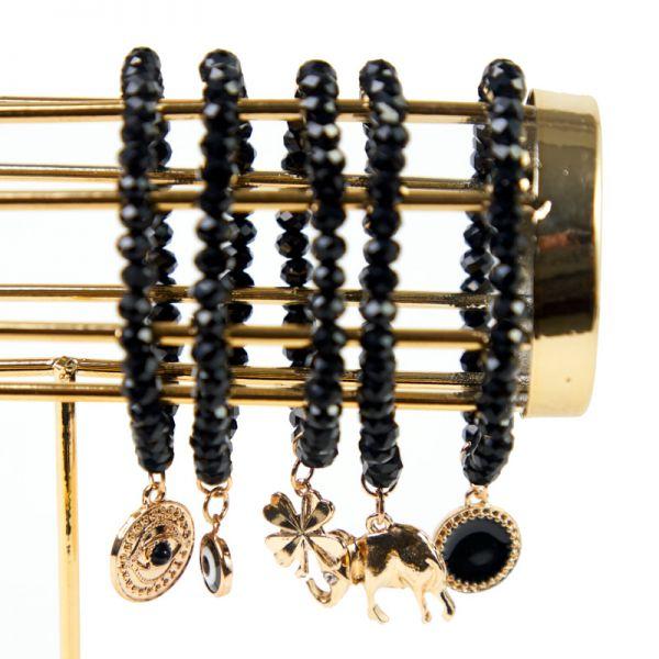 Pulsera cherie perlas negra