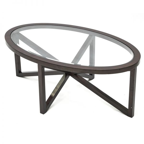 Mesa de centro ovalada chocolate