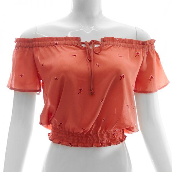 Blusa manga corta con recogido abajo Papermoon