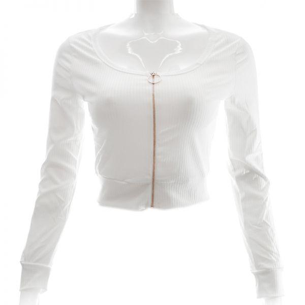 Sweater con zipper manga larga Wetlook