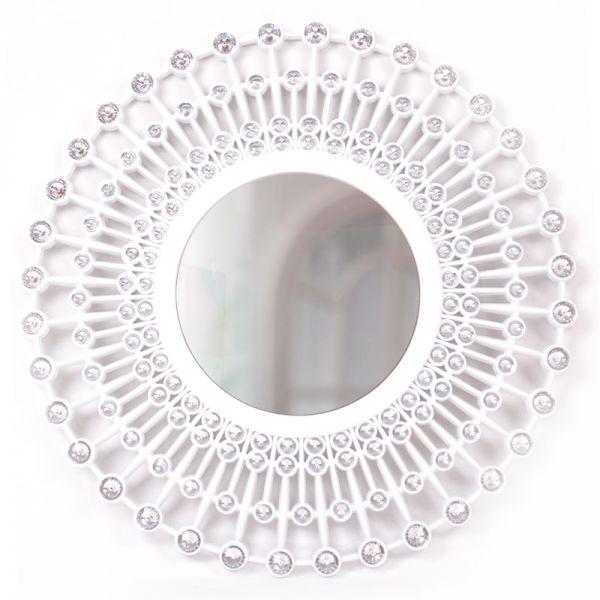 Espejo de pared redondo color blanco diámetro de 49.5 cms.