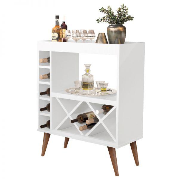 Mueble bar de madera con 2 repisas y 5 cubículos laterales, de color blanco