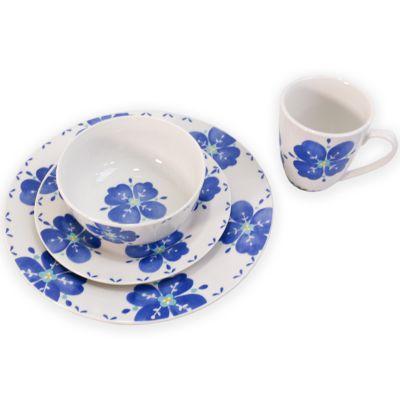 Vajilla de cerámica 16 piezas azul y blanco Gibson
