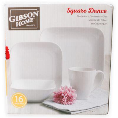 Vajilla de cerámica blanco 16 piezas Gibson