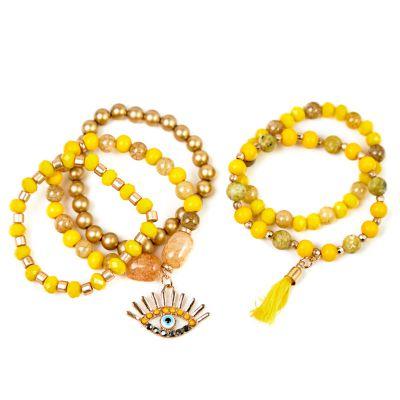 Pulsera cherie perlas amarilla