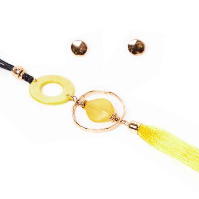 Juego de collar y aretes vintage amarillo