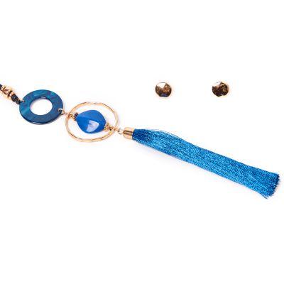 Juego de collar y aretes vintage azul