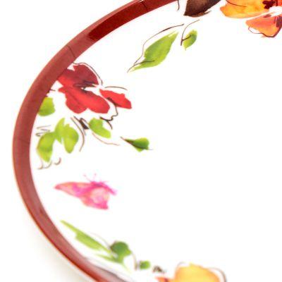 Plato llano de melamina estampado floral
