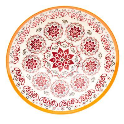 Plato llano de melamina estampado elegante diseño rojo