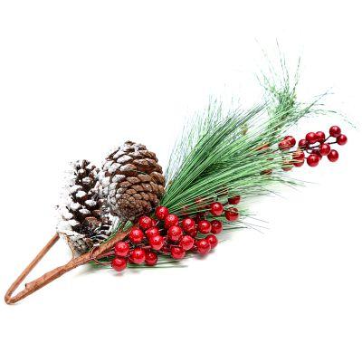 Flor navidad rama de pino