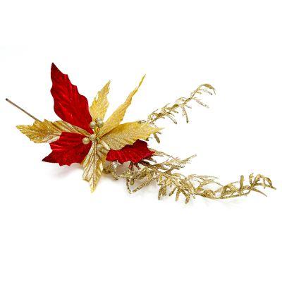 Flor navidad roja dorada