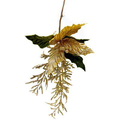 Flor navidad verde dorada