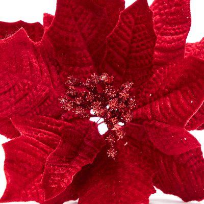 Flor roja 2 cm estilo escarchado