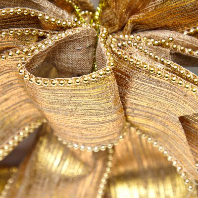 Lazo dorado estilo moño 25 cm