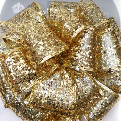 Lazo dorado estilo moño 23 cm