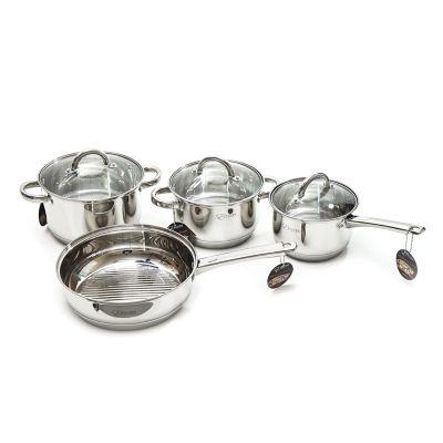 Set de ollas de aluminio con tapa de vidrio 7 piezas Epicure