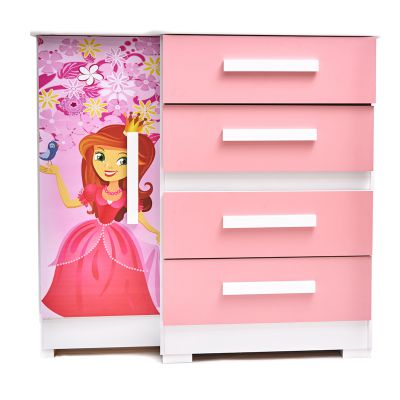 Gavetero de madera infantil rosado