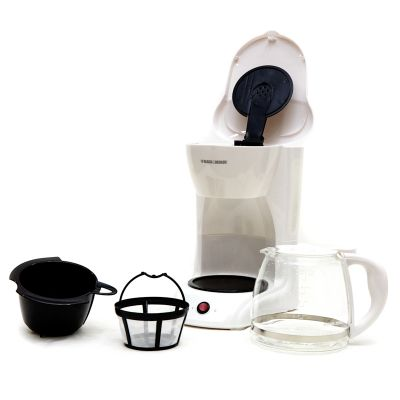 Cafetera Black & Decker blanca 12 tazas caja negra