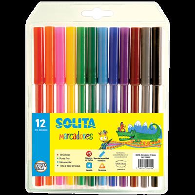Marcador escolar 12 colores Solita
